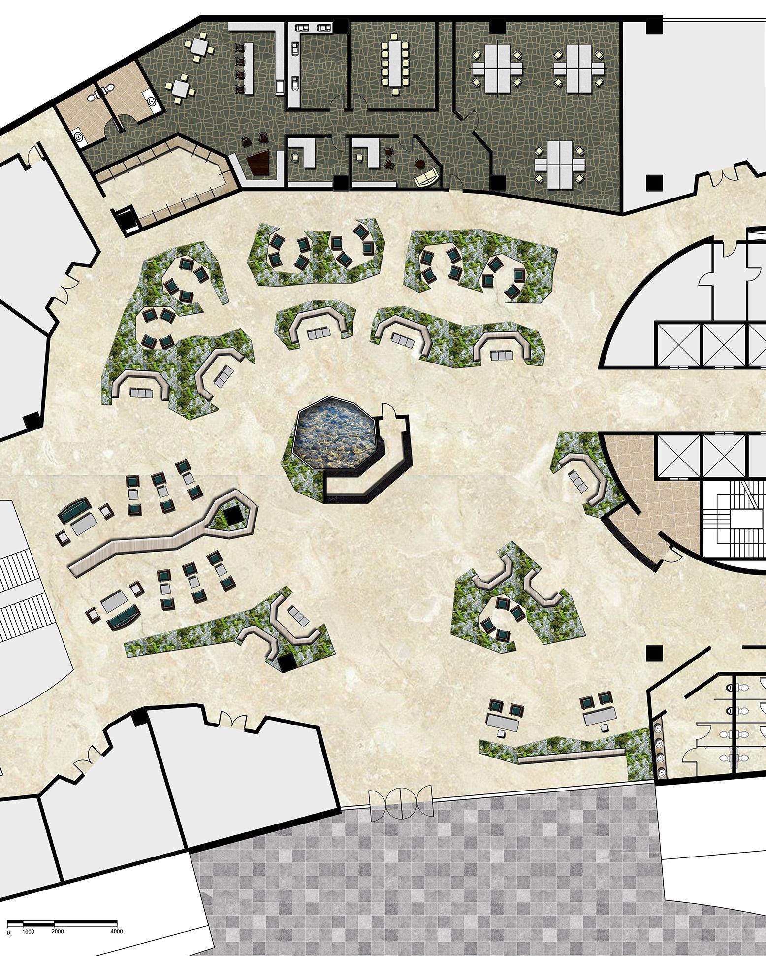 Hotel lobby floor plan - Rendered Lobby Floor Plan